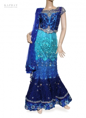 Bridal Fishtail Lengha in Blue