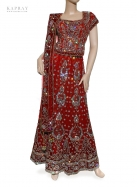 Bridal Short Top Lengha in Red