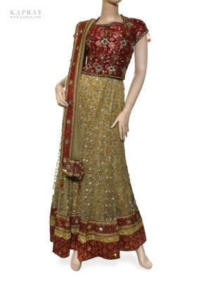 Bridal Short Top Lengha in Red and Gold