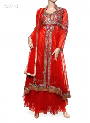 Bridal Long Top Lengha in Red