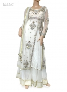 Bridal Long Top Lengha in White
