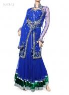 Bridal Long Top Lengha in Blue