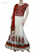 Bridal Lengha Fishtail in White and Red