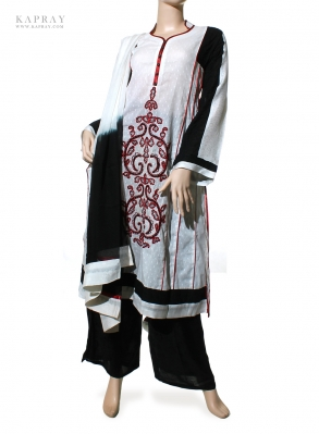 Casual Salwar Kameez in White and Black