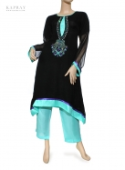 Casual Salwar Kameez in Black and Blue
