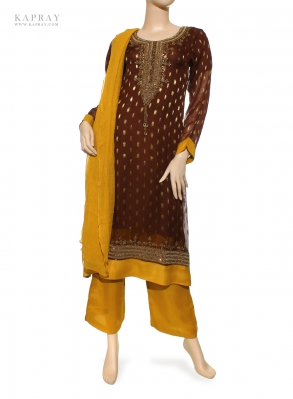 Casual Salwar Kameez in Brown and Mustard