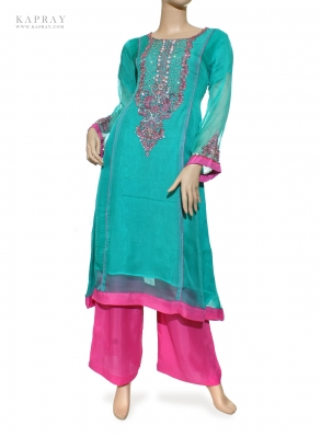 Casual Salwar Kameez in Blue and Pink