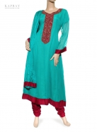 Casual Salwar Kameez in Blue and Red