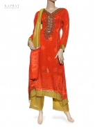 Casual Salwar Kameez in Orange and Yellow