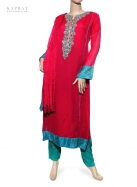 Casual Salwar Kameez in Deep Pink and Blue