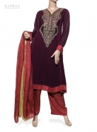 Casual Salwar Kameez in Purple and Salmon Pink