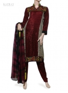 Casual Salwar Kameez in Burgundy with Print