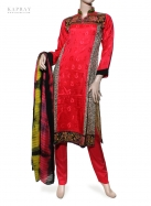 Casual Salwar Kameez in Red with Print
