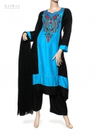 Casual Salwar Kameez in Blue and Black
