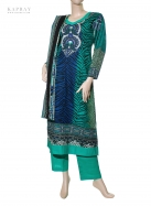 Casual Salwaar Kameez in Blue & Print