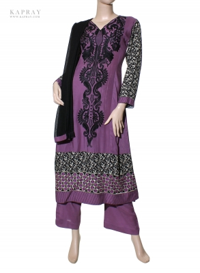 Casual Salwar Kameez in Purple with Black embroidery