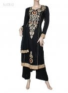 Casual Salwar Kameez in Black with Beige detail