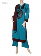Casual Salwar Kameez in Blue with Black velvet detail