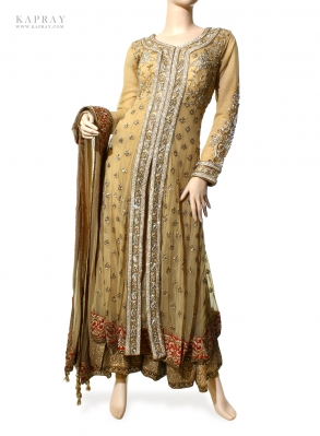 Party Wear Anarkali Dress in Beige