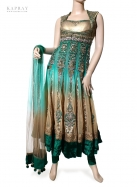 Party Wear Anarkali Dress in Blue and Gold