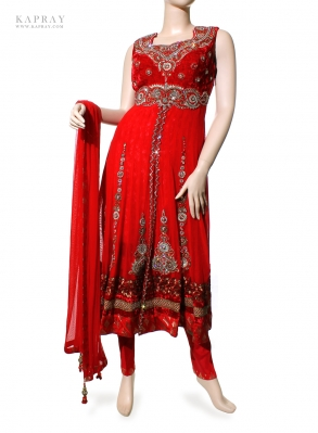 Party Wear Anarkali Dress in Red