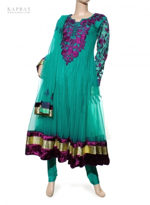 Party Wear Anarkali Dress in Turquoise