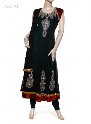 Party Wear Anarkali Dress in Black