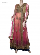 Anarkali long dress in pink gold and black