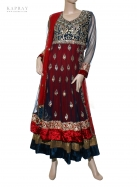 Anarkali short dress in red and blue