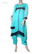 Long dress frock in turquoise