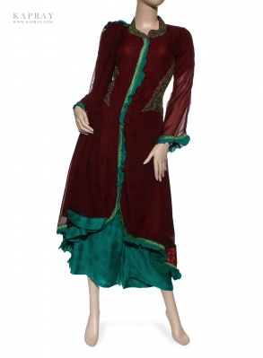 Party Gown Dress in Maroon