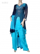 Salwar kameez in navy and light blue