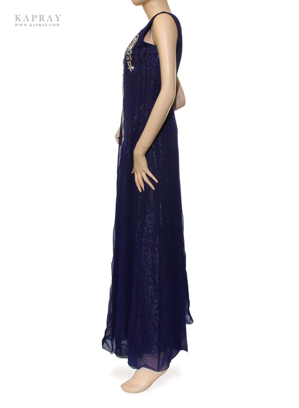 Bridal maxi dress in navy blue kapray for Navy blue maxi dress for wedding