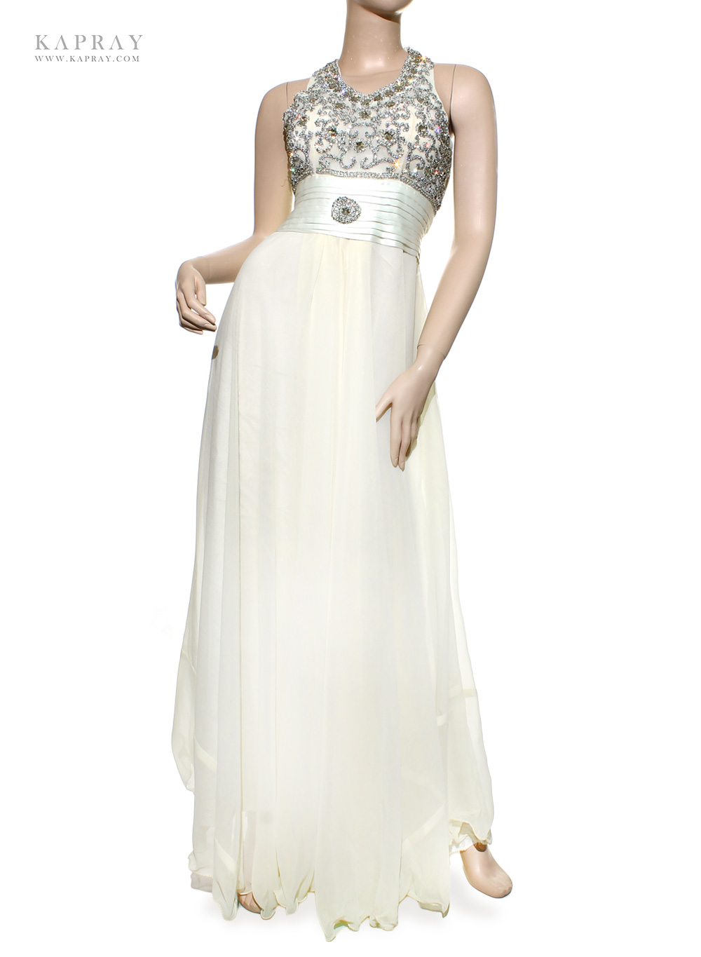 Bridal maxi dress in white kapray for Maxi dresses for wedding party